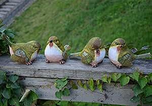 Danmu Indoor Outdoor Garden Decor Resin Birds 4pcs a Set
