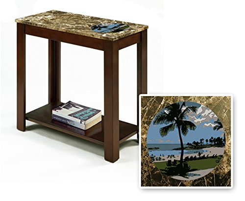 New Rectangular Top Espresso / Cappuccino Finish Night Stand End Table with Faux Marble Table Top featuring Hawaii Theme by The Furniture Cove