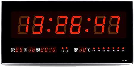 MYLEDI Rectangular Reloj Digital Pared Reloj Grande De La Pared del LED Calendario Temperatura Luz De Noche Cuenta Regresiva Controlador Remoto Mesa para Salón Dormitorio Cocina: Amazon.es: Hogar