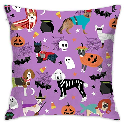 yifeier Dogs in Halloween Costumes - Dog Breeds Dressed Up Fabric - Purple_232 Decorative Pillow Case Home Decor Pillowcase (18x18 -