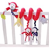Shiloh Baby Activity Spiral Wrap Around Crib Bed Bassinet Stroller Rail Decorations Toy (Red Monkey)