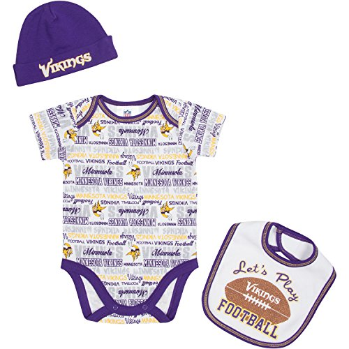 Vikings Set Minnesota Cap - NFL Minnesota Vikings Unisex-Baby Bodysuit, Bib & Cap Set, Purple, 3-6 Months