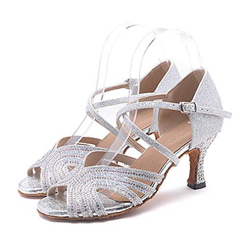 Tacón Sandalia Rendimiento Profesional Pedrería Hebilla Moderno Swing Alto Mujer Latino Jazz Zapatos De Silver Tacones Purpurina RpFR6Yx
