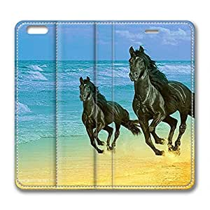 More Horses Running DIY Leather iphone 6 plus Case Perfect By Custom Service