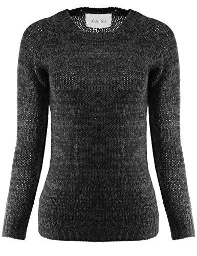 Raglan Long Sleeve Two Tone Knit Sweater Black Grey M Size