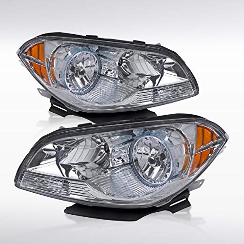 Autozensation For Chevy Malibu Euro Chrome Clear Lens Crystal Headlights Pair ()