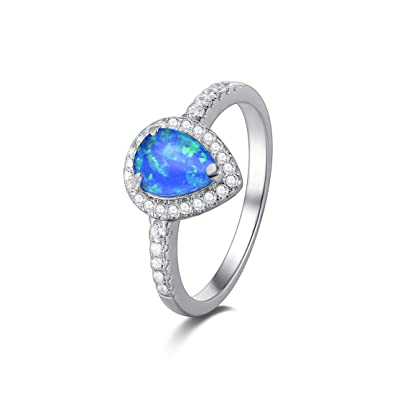 Other Fine Rings Sterling Silver 925 Rh Round Simulated Opal Stone Ring With Cz Size 7