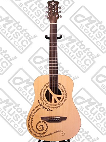 Luna Safari Series Peace Travel-Size Dreadnought Acoustic Guitar
