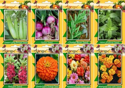 Shopmeeko SEED Green Long Brinjal, Onion, Cluster B, Mint (Pudina), Balsam, Orange zinnia, Portulaca Mixed and Mari Gul Jafri Seed + Humic (For Growth of All and Better Responce) 15 gm Humic + (Pack Of 40 seed * 4 Per Pkts of Vegetables) + (Pack Of 40 Seed
