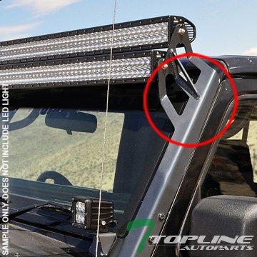 Topline Autopart Textured Black Roof A-Pillar Light Mount Brackets Kit For 50