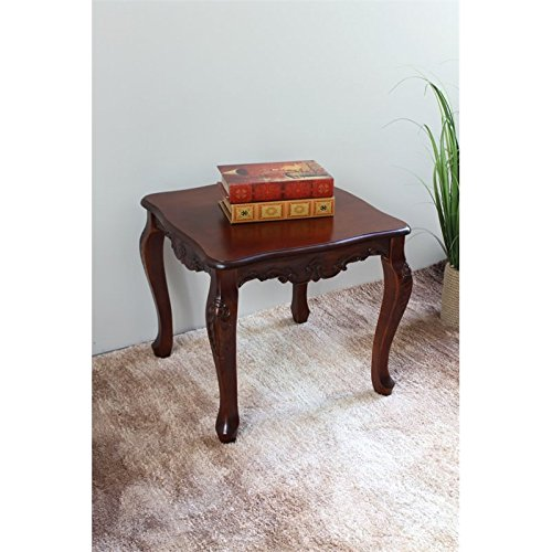 International Caravan 3862-IC Furniture Piece Carved Wood Square End Table For Sale