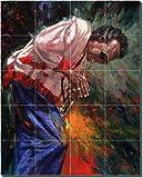 Jazz on Fire by Nenad Mirkovich - Artwork On Tile Ceramic Mural 25.5'' x 21.25'' Kitchen Shower Backsplash