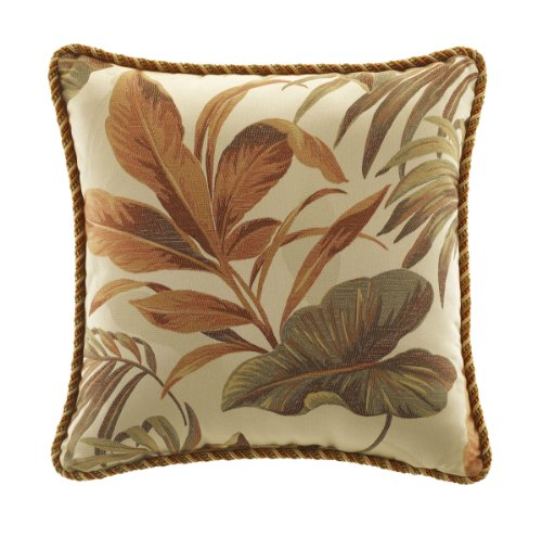 CROSCILL Home Fashions Bali Harvest Square Pillow, 18-Inch by 18-Inch ()