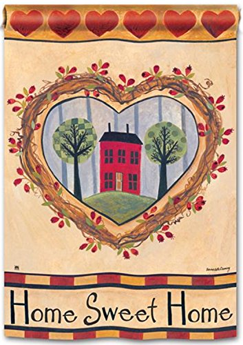 No Place Like Home House Flag Hearts Country Life Primitive Breezeart 28