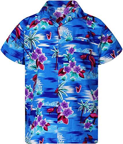 Funky Hawaiian Shirt, Shortsleeve, Flamingos Old, New-Blue, 6XL ()