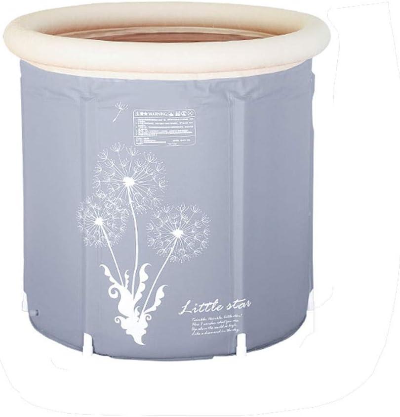 ZR Bañera portátil, tina de baño japonesa que empapa para la parada de ducha, tamaño adulto plástico flexible inflable plegable (Color : Gris)