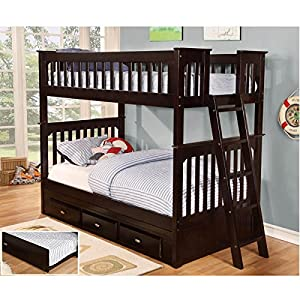 Twin Over Twin Wooden Bunk Bed with 3-Drawer Under-Bed Storage