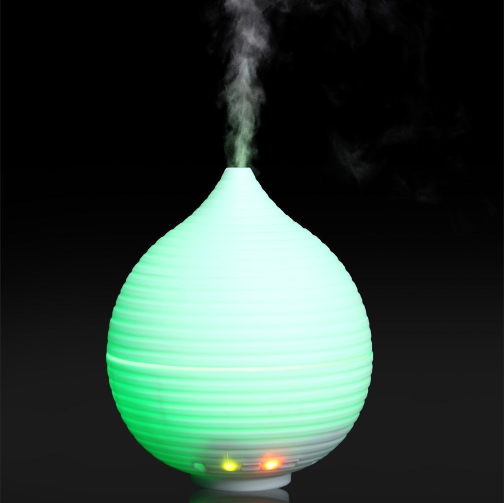 Mini Air Humidifier, USB Cool Mist Humidifier Portable USB Personal Ultrasonic Diffuser Quiet Crystal Mist Dispenser Aromatherapy Auto Shut-off with LED Night Light for Home Car Office Travel (White)