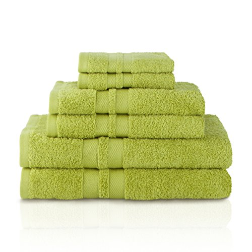 Superior 100% Premium Cotton Ultra Soft 6 Piece Towel Set, 2 Bath Towels, 2 Hand Towels, and 2 Washcloths with Unique Honeycomb Double Border, ()