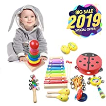 Musical Instruments for Toddlers, ZOUTOG 9 Types 12 Pcs Wooden Percussion Instruments Toy for Kids Preschool Educational, Xmas Musical Toys Gift Set