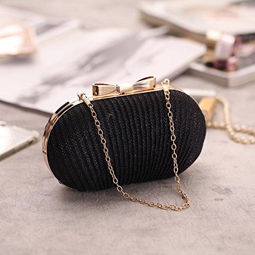Closure Evening Clasp Clutch Hardbox Bowknot Womens Pleated Black Glitter Missfiona Handbag UFwqAg0x