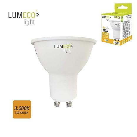 BOMBILLA LED GU10 5W LUZ CALIDA 3.200K