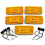 5 Sealed Marker Clearance LED Amber Lights Volvo Freightliner Roof Cab Truck Mount Bright Bus Waterproof with Gasket