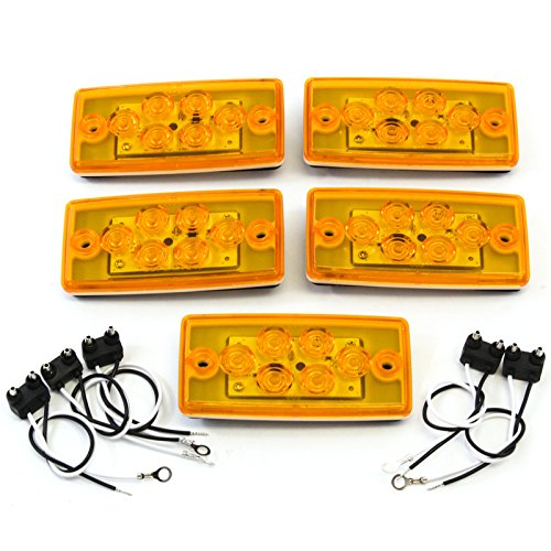 Truck Cab Roof - Red Hound Auto 5 Sealed Marker Clearance LED Amber Lights Compatible with Volvo Freightliner Roof Cab Truck Mount Bright Bus Waterproof with Gasket