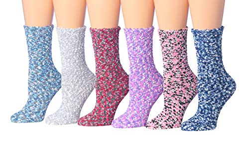 Tipi Toe Women's 6-Pairs Patterned  Solid Anti-Skid Soft Fuzzy Crew Socks FZ19