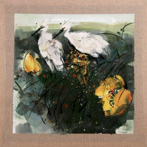 Oil Painting 'Chinese Bird-and-Flower Painting: Crane', 30 x 30 inch / 76 x 76 cm , on High Definition HD canvas prints is for Gifts And Game Room, Hallway And - Sunglasses Costa Anna