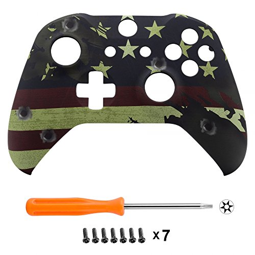 eXtremeRate Soft Touch US Flag The Stars & Stripes Patterned Faceplate Cover, Front Housing Shell Case Comfortable Replacement Kit for Microsoft Xbox One X & One S Controller - Controller NOT Included