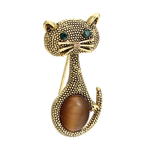 MINGHUA Vintage Crystal Cat Brooch Collar Pin Lovely Pets Corsage for Women Dress Accessories