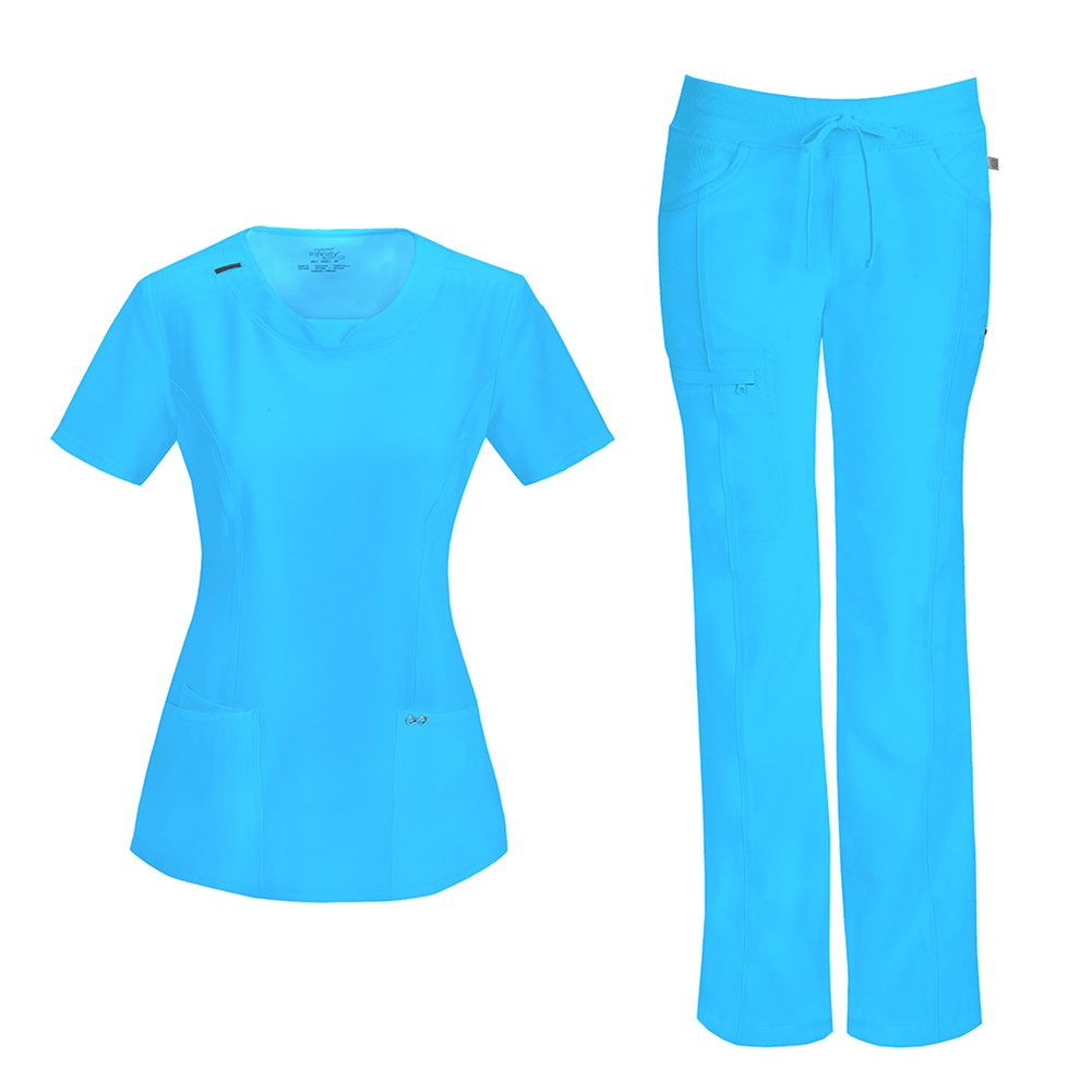Cherokee Infinity Women's with Certainty Round Neck Top 2624A & Low Rise Drawstring Pant 1123A Scrub Set (Antimicrobial) (Turquoise - XXX-Large/XXXX-Large)
