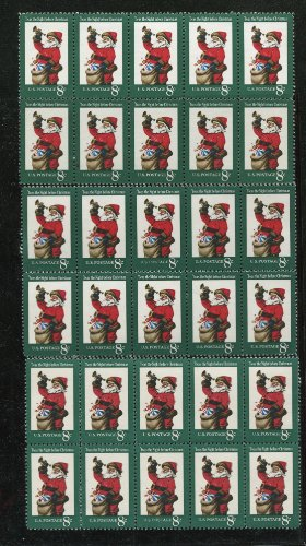(VINTAGE CHRISTMAS ~ SANTA CLAUS WITH BAG AND HORN ~ 30 STAMPS TOTAL (8¢ US Postage Stamps) Scott #1472)