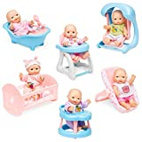 mini baby dolls - Best Choice Products Set of 6 Mini Baby Dolls Toy w/ Cradle, High Chair, Walker, Swing, Bathtub, Infant Seat