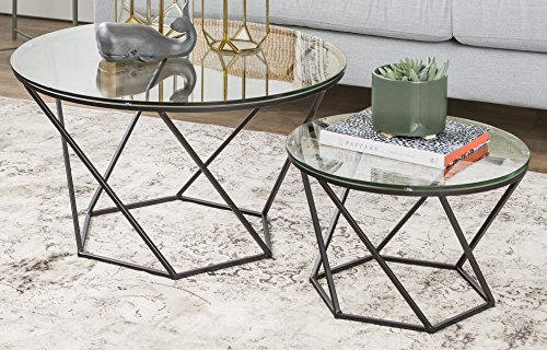 [WE Furniture Geometric Glass Nesting Coffee Tables - black, Glass/Black] (Black Glass Nesting Tables)