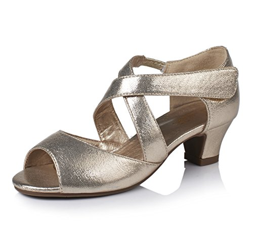 Alicorn Girl's Gold Ankle-Wrap Low Heel Sandals Dancing Dress Shoes 12.5M by Alicorn