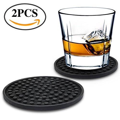 Nlife 2PCS Silicone Cup Drink Coaster for Whisky Glass, Wine Champagne Cups, Beer Coasters, Bar Drinks - Prevent Furniture Damage