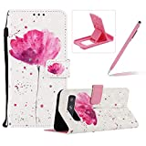 Strap Leather Case for Galaxy S10 5G,Wallet Flip Case for Galaxy S10 5G,Herzzer Stylish Elegant 3D Pink Lotus Pattern Magnetic Stand PU Leather Case with Soft TPU