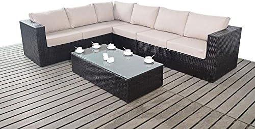 Moderno Grande Jardín rinconera, 3 modular 2 plazas sofás con mesa de café con tapa de cristal, gruesa cojines de asiento, conjuntos de muebles de jardín: Amazon.es: Hogar