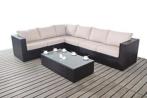 moderne gro e garten eckregal 3 modular 2 sitzer sofas mit glas couchtisch dicke sitz kissen. Black Bedroom Furniture Sets. Home Design Ideas
