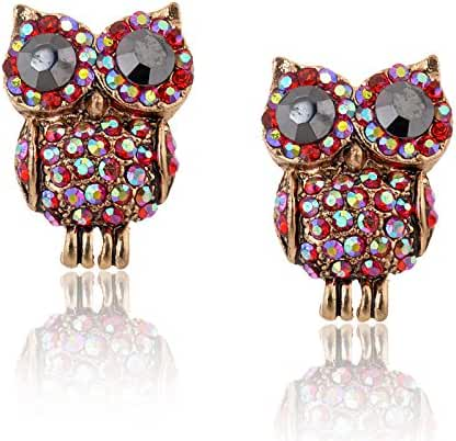 Chokushop DC-4 Four colors Crystal Stud Earrings New Elegant AollyCrystal Owl Earrings For Women Trendy Gold Sarrings 24k