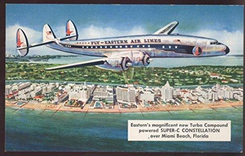 (Eastern Super-C Constellation Miami Beach Florida Airplane Postcard)