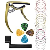 #7: Guitar Capo Trigger Capo Key Clamp with 3 Sets(18 Pieces) Guitar Strings, 4 Pcs Guitar Picks, Guitar String Winder for Acoustic Guitar Replacement