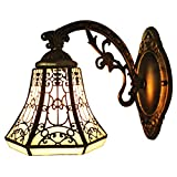 BAYCHEER HL275527 Tiffany Style Glass Shade Vintage Wall Sconce Lamp Fixture One Light for Kitchen Island Dining Room or Living Room