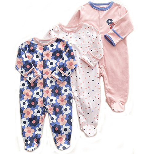 Exemaba Baby Footed Onesies Overall - Cotton Baby Girls Footies Pajamas Sleeper Infant Sleep Play (0-3 Months, Sun Flower)