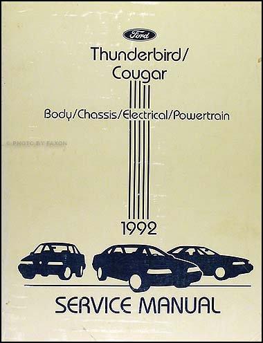 1992 Ford Thunderbird & Mercury Cougar Repair Shop Manual Original