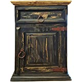 Handscrape Rustic Western Country Nightstand End Table Already Assembled (Right Hinged, Black)