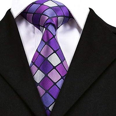 AK Hombres S Tie Corbatas a cuadros morados para hombres 100 ...