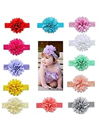 12pcs Baby Girls Headbands Chiffon Flower Hair Lace Band for Toddler Babies Kids